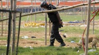 An Indian National Security Agency official examines debris in the search for evidence at the site of a blast at Gandhi Maidan in Patna on October 28, 2013