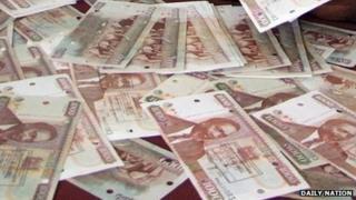 Counterfeit Kenyan notes