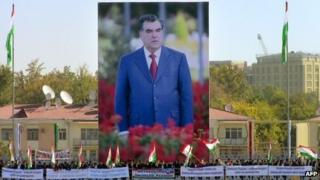 Giant billboards depicting President Imomali Rakhmon in Dushanbe. Photo: 3 November 2013