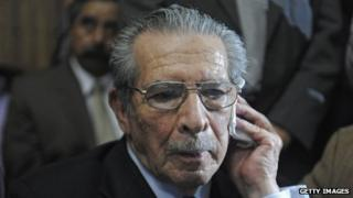 Gen Efrain Rios Montt in court in Guatemala City on 10 May, 2013