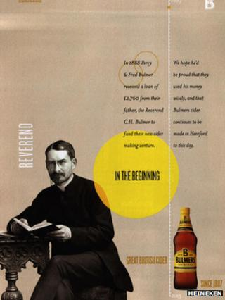 The Bulmers advert, featuring Hugh Price Hughes instead of C. H. Bulmer