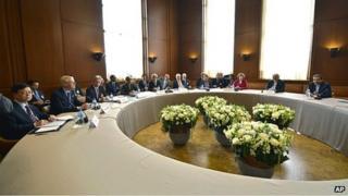 Talks at UN offices in Geneva, Switzerland. 7 Nov 2013