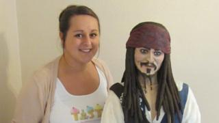 Lara Clarke with Jack Sparrow the cake