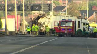 The scene of the crash on the M1 motorway
