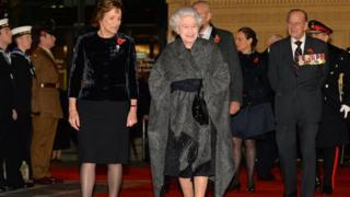 The Queen and Duke of Edinburgh arrive at the Royal Albert Hall for the Festival of Remembrance