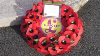 UKIP wreath, Plymstock memorial, November 2013