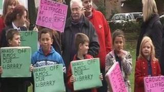 School children with placards