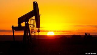 Oil rig at sunset in North Dakota