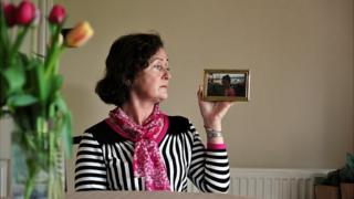 Justine Clark with her photograph of Ruth Clark