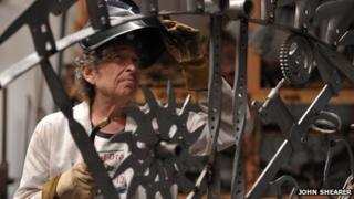 Bob Dylan at his iron works studio, September 2013