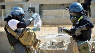 UN inspectors in Ain Terma, Syria, 28 Aug