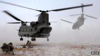 British Chinook helicopters in Afghanistan (2011)