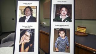 Photo display of McStay family at a press conference at the San Bernardino County Sheriff's Department headquarters in San Bernadino, California 15 November 2013