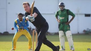 David Cameron playing cricket