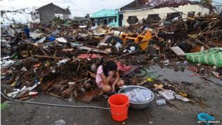 Survivor of the typhoon that has devastated the Philippines