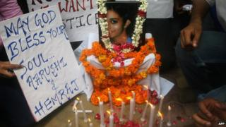 A candle-light vigil for Aarushi Talwar in January 2008