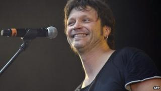 French rock singer and convicted killer Bertrand Cantat performs during the Eurockeennes music festival on 29 June 2012 in the city of Belfort, eastern France