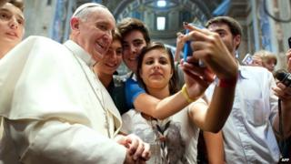 Pope pictured in a selfie