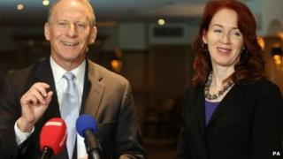 "Dr Richard Haass, with Harvard professor Meghan O""Sullivan, speaking to the media at the Europa hotel in Belfast"