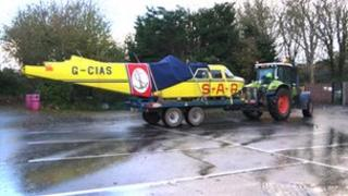 The Lions Pride air search plane on a trailer