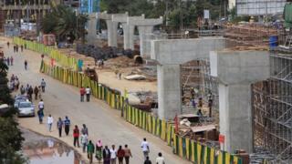 Railway track pillars in Addis Ababa