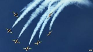 Al Fursan, the aerobatics demonstration team of the UAE Air Force perform during the Dubai Air show