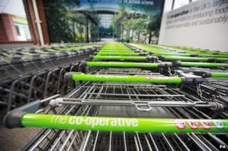 Co-op supermarket trolleys