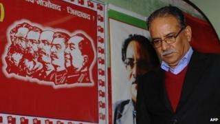 Maoist leader Prachanda in Kathmandu (21 November 2013)