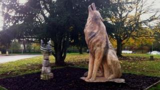 Wolf statue in Bury St Edmunds