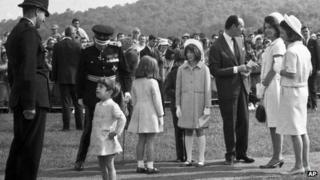 John Kennedy Jr, Jackie Kennedy and family at the memorial unveiling in Runnymede