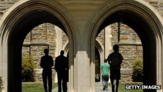 Students pass under the arches at Duke University on 11 April 2006