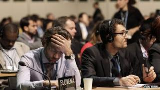 Delegates to the UN talks on climate change in Warsaw, 22 November 2013