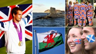 Andy Murray, a nuclear submarine, men in Union Jack suits, a British fan with a Scottish fan, and a Welsh flag