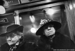Two women on the London Underground in 1951