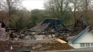 Burnt out annex at Bryn Seiont hospital, Caernarfon, Gwynedd (Pic: Daily Post)