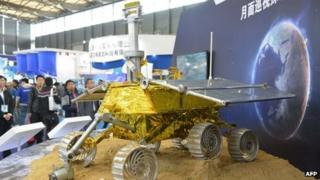 "A model of China's lunar rover, named ""Jade Rabbit"""