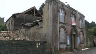 Collapsed chapel in Launceston