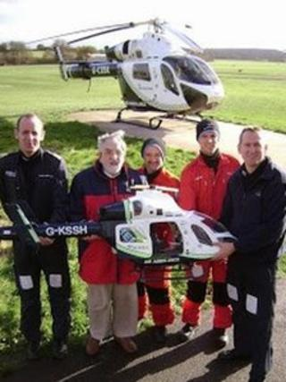 Pilot Mark Howard-Smith, Peter Williams, critical care paramedic Stu Plumbley, Dr Will Davies and pilot Dan Kitteridge