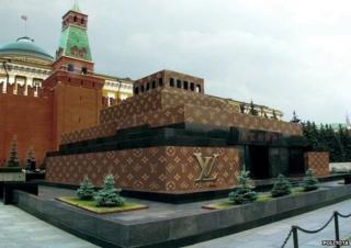 Lenin Mausoleum with LV livery Photoshopped onto it