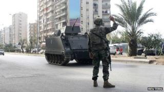 Lebanese soldier in Tripoli. 30 Nov 2013