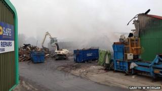 Scene of the fire on Monday