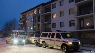 Police outside the flats in Reykjavik. 2 Dec 2013