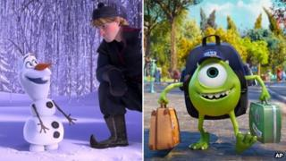 Stills from Frozen and Monsters University