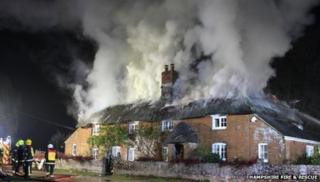Fire in Brockenhurst village, Hampshire