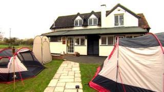 Tents outside pub