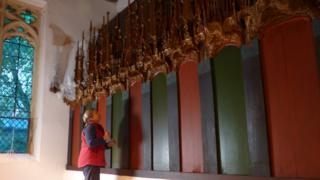 Altar screen in Llancarfan