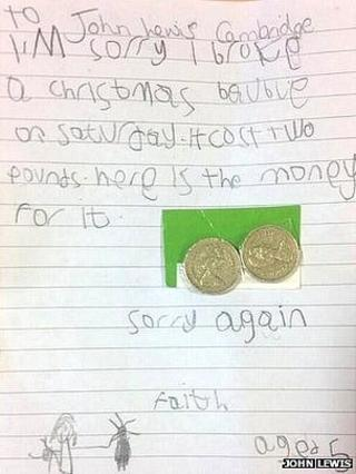 Girl's letter to John Lewis in Cambridge