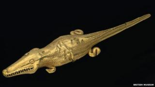 Golden crocodile from Colombia, on display at the British Museum