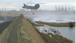 Helicopter aids repair to flood banks in Billingham