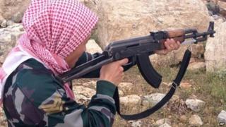 A Danish jihadist at a training camp in Syria (file pic)